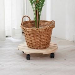 편백나무 원목 이동식 화분받침대 원형 36cm
