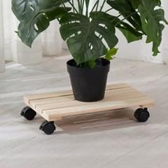 편백나무 원목 이동식 화분받침대 직사각 40x30cm