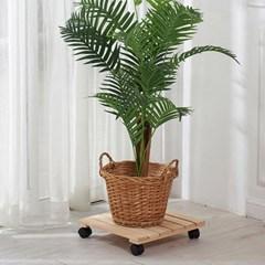 편백나무 원목 이동식 화분받침대 사각 36cm