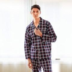 남성긴팔잠옷 클래식체크 긴소매 순면 페어 7025(남성