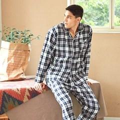 남성긴팔잠옷 선염체크 긴소매 기모 페어 7027(남성)
