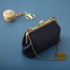 18cm 청지 데님 빈티지 사각파우치 가방만들기