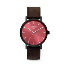 [프랭크1967] 가죽 손목시계 레드블랙 7FW-0010