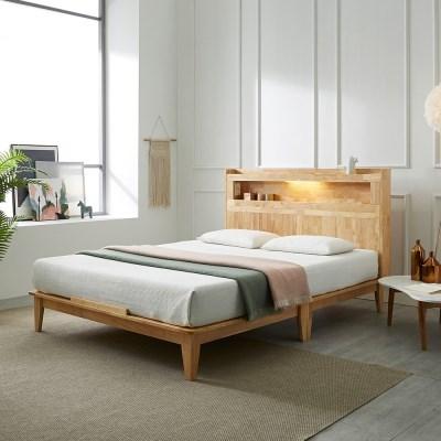 [스코나]카니토 원목 LED 평상형 퀸 침대(매트별도)