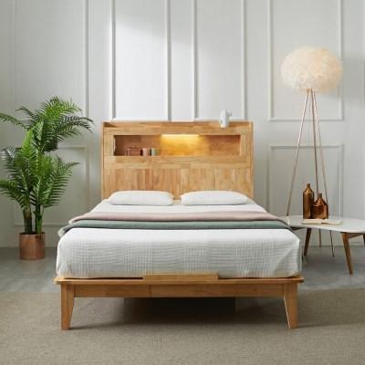 [스코나]카니토 원목 LED 평상형 침대(SS)(매트별도)