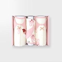 [메르베] 산타토끼 아기 백일선물세트(내의+우주복+모자)_겨울용