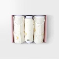 [메르베] 은은한 빛 아기 백일선물세트(내의+우주복+모자)_겨울용