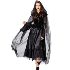 할로윈 파티복 검은 드레스 코스튬 코스프레 의상  H