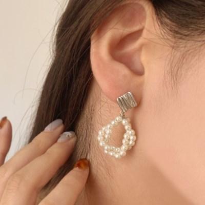 [귀찌가능] 진주 꼬임 은침 셀프 웨딩촬영 결혼식 귀걸이