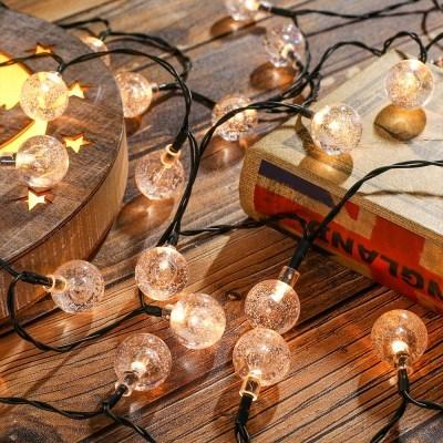태양광 LED 50구 스노우볼 가랜드 전구(7m) 캠핑줄조명