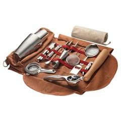 휴대용 칵테일 도구 가방 바텐더 캔버스 백 보관함  H
