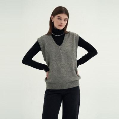 Mellow V-neck Vest - Gray