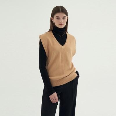 Mellow V-neck Vest - Beige