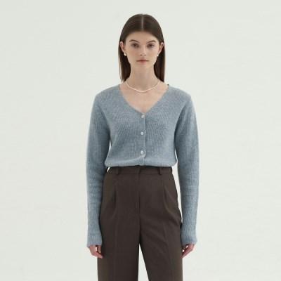 V-neck Wool Cardigan - Sky blue