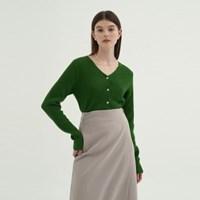 V-neck Wool Cardigan - Green