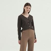 V-neck Wool Cardigan - Brown