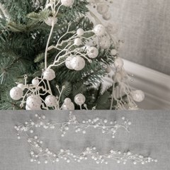 화이트글로시반짝이볼가랜드 180cm 크리스마스 TRWGHM