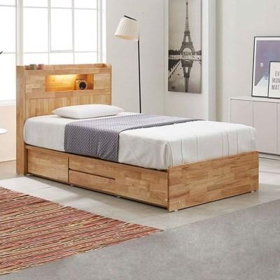 [스코나]제니토 원목 LED 4서랍 침대(SS)(매트별도)