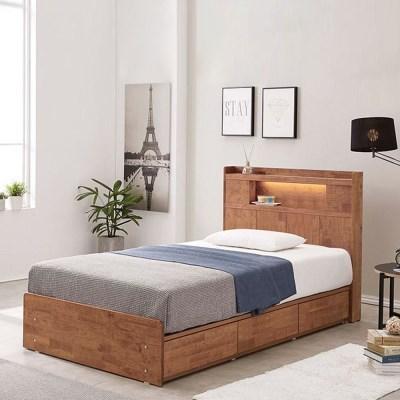 [스코나]제니토 원목 LED 3서랍 침대(SS)(매트별도)
