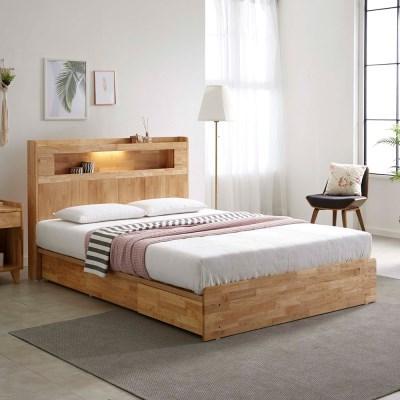 [스코나]제니토 원목 LED 3서랍 퀸 침대(매트별도)