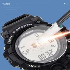 강화 유리 디지털 방탄 손목시계 우주인 Black S-723