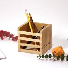 [리인목공소] 원목 연필꽂이 고무나무 다용도 정리함