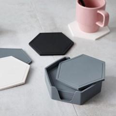 푸코 헥사곤 실리콘 컵받침6P세트(홀더포함)