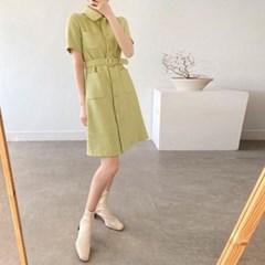 여자 가을 루즈핏 카라 포켓 허리밸트 반팔 셔츠 미니원피스