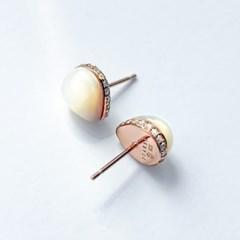 925 silver + 18k rose gold 천연자개 스터드 이어링 pear cabochon