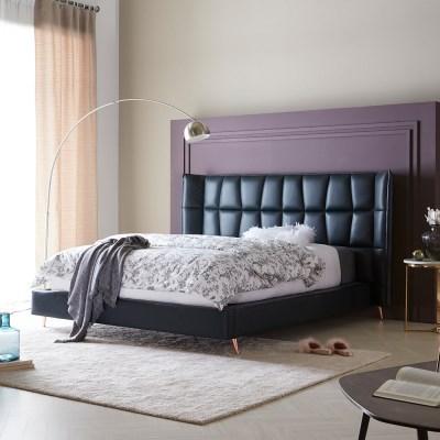 [스코나]멀베리 와이드 가죽 침대(라지킹)(매트 별도)