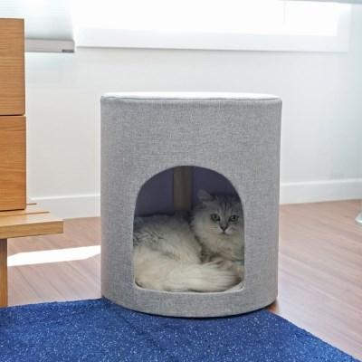 [리앳홈] 코코넨네 패브릭 원목 고양이숨숨집 고양이하우스 2컬러