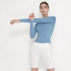 여성 요가복 DEVI-T0070-포그블루 노르딕 원스 티셔츠
