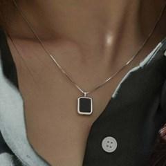 오닉스목걸이 스퀘어 프레임 원석 은목걸이