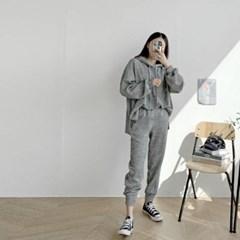 여자 가을 투피스 루즈핏 후드 보카시 긴팔티 밴딩조거팬츠 세트