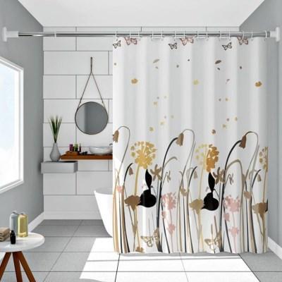 브레이싱 꽃 나비 안티 곰팡이 욕실 화장실 샤워 커튼