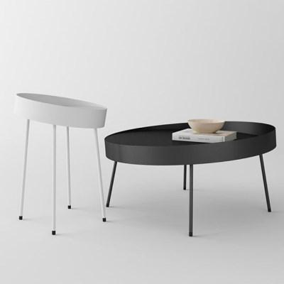 모던 디자인 고급 블랙 화이트 철재 침실 거실 테이블