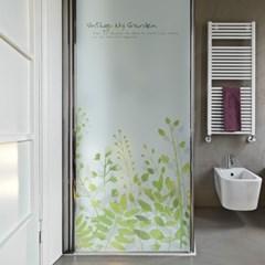 반투명 칼라 샤워부스 시트지_풀잎 수채화 디자인