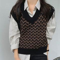 여성 가을 겨울 니트 조끼 스웨터 캐시미어 엘르