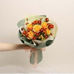 프렌치 메리골드와 오렌지 장미 꽃다발 (생화, 전국택배)