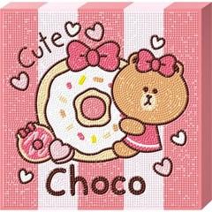 라인프렌즈 도넛 초코 (캔버스) 보석십자수 25x25