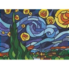 글라스아트 별이빛나는밤에 (패브릭)보석십자수 38x52
