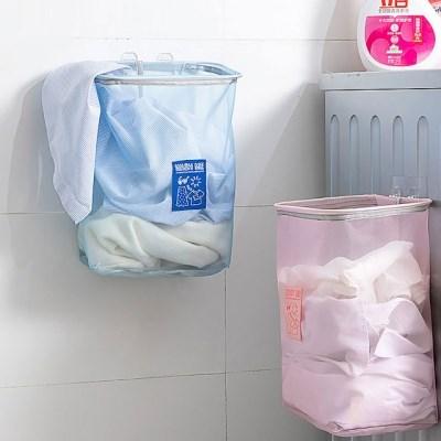 깔끔한 벽 부착식 벽걸이형 매쉬 세탁물 빨래 바구니