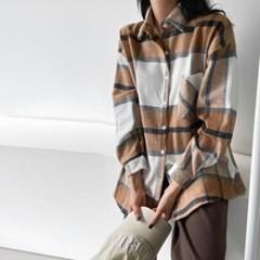 여자 가을 루즈핏 레트로 빈티지 플란넬 체크 포켓 셔츠남방