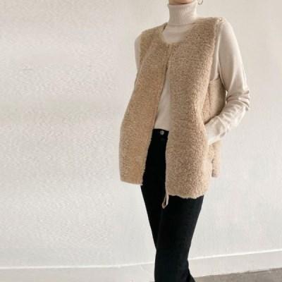 여자 가을 루즈핏 라운드 양털 뽀글이 스웨이드 슬릿 집업 조끼