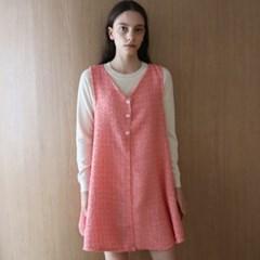 트위드 핑크 베스트 원피스 _ Tweed Pink Vest OP
