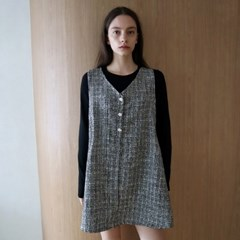 트위드 블랙 베스트 원피스 _ Tweed Black Vest OP