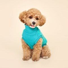 플로트 플러피후리스 하프넥민소매 강아지옷 터키쉬블루
