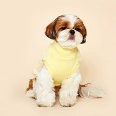 플로트 플러피후리스 하프넥민소매 강아지옷 레몬