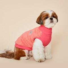 플로트 플러피후리스 하프넥민소매 강아지옷 핑크