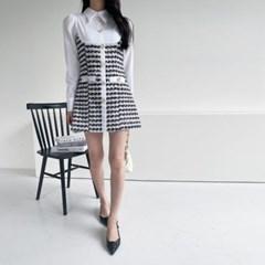 여자 가을 루즈핏 A라인 카라 셔링 비즈 트위드 배색 미니원피스